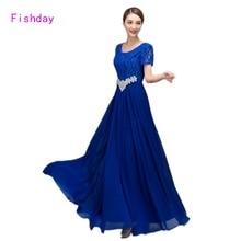 Barato Larga de La Gasa Roja Azul Real de Las Mujeres de Cristal Elegante vestidos de fiesta Vestido Longo Ocasión Formal Vestidos de Noche de China B45