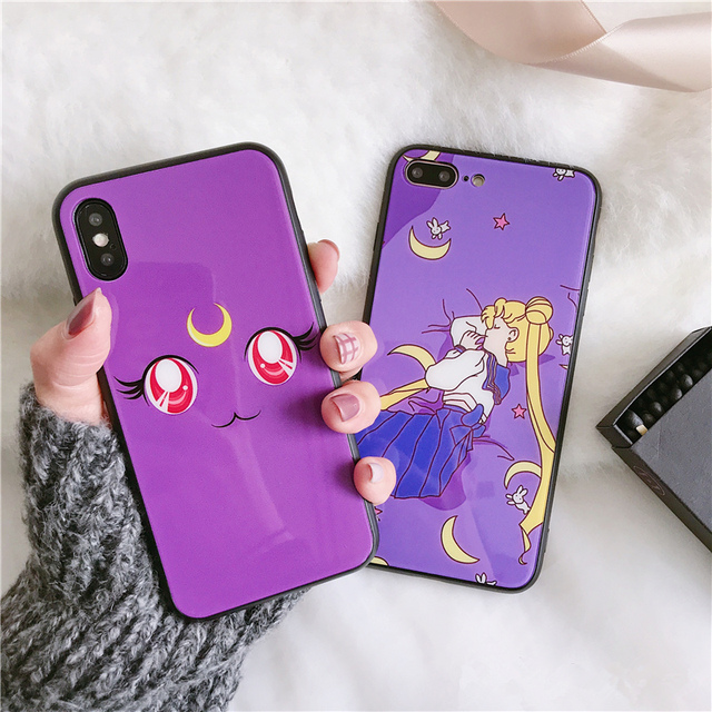 cheap for discount 4b2d6 06d81 Korea sailor moon phone Cases For iphone X 6 6s 6plus 7 7Plus Glossy  Tempered Glass Hard Back Shell for iphone 8 8plus-in Fitted Cases from  Cellphones ...