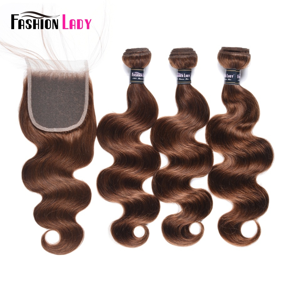 Fashion Lady Pre-Colored 3 Bundles Brazilian Body Wave With Closure Color 4# Brown Human Hair Extensions With Closure Non-Remy