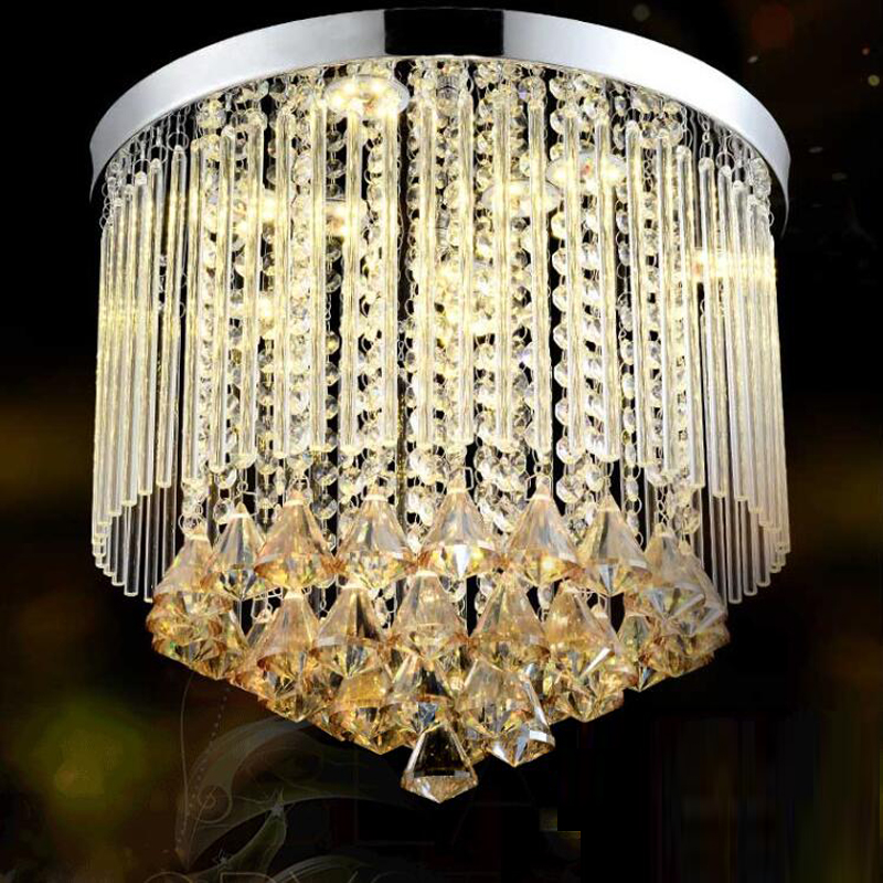 New arrival round crystal ceiling chandelier replaceble LED light cristal lamps for home