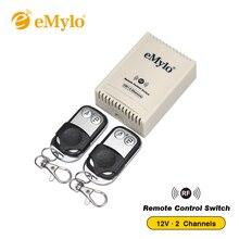 EMylo Универсальный Радиочастотный постоянный ток 12 В, беспроводной пульт дистанционного управления с фиксированным кодированием, 2 канала для оконной лампы, светодиодный мгновенный выключатель