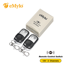 eMylo Universal RF DC 12V Wireless Fixed Encoding Remote Control Switch 2 Channels for Window Lamp Led Momentary Latched Toggle