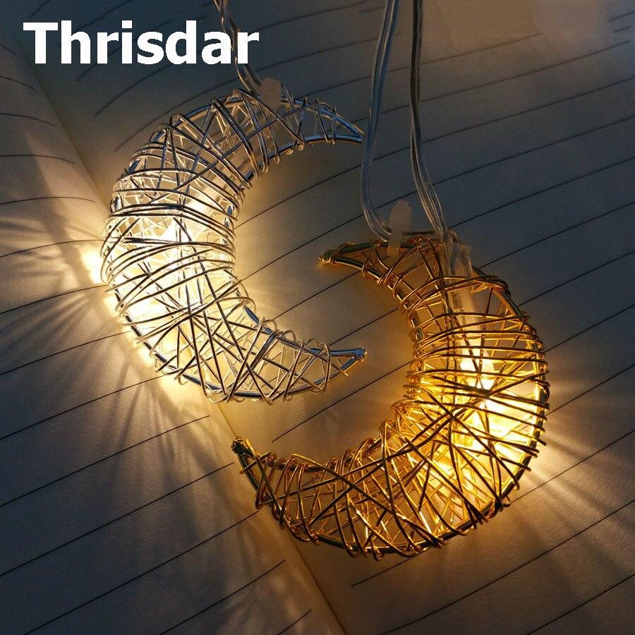 Thrisdar 1.5M 10 Metal Hollow Star Moon Led String Fairy Lights Garland Battery Powered Wedding Party Christmas Garland String