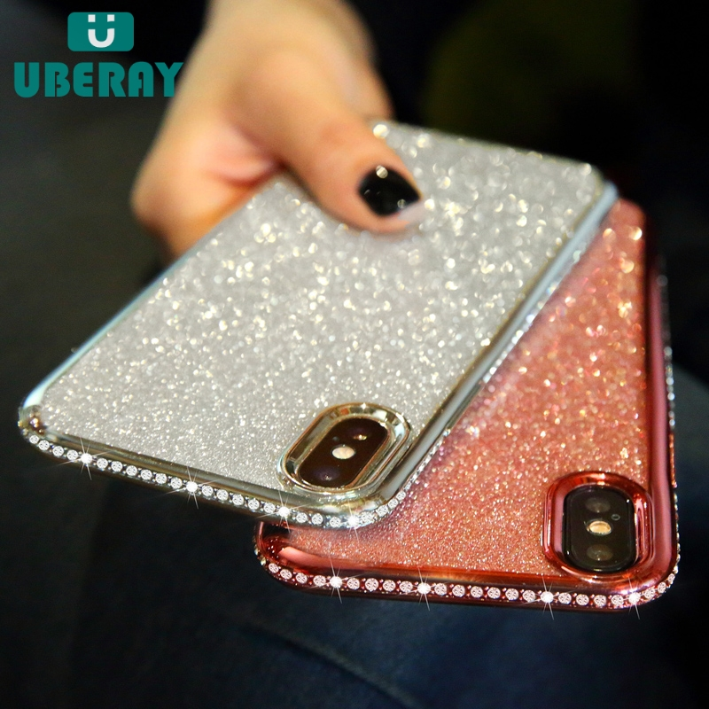 Rhinestone Glitter <font><b>Case</b></font> for <font><b>iphone</b></font> XS MAX XR 10 X <font><b>7</b></font> 8 Plus 6 6s Soft Silicone TPU Diamond <font><b>Sexy</b></font> <font><b>Girl</b></font> Protector Back Cover image
