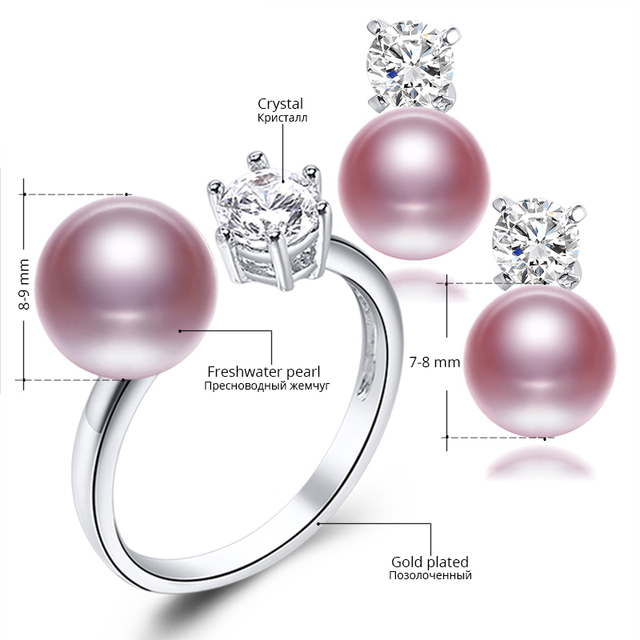 Gold Plated Natural Purple Pink White Black Pearl Earrings and Ring Jewelry Set with Zircon Crystals