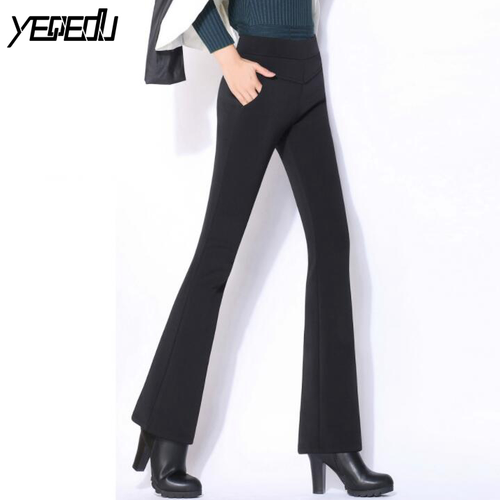 #5104 2018 Spring/Autumn Stretch Flared trousers High waist Casual Bell bottom pants Plus size trousers S-4XL Pantalon femme