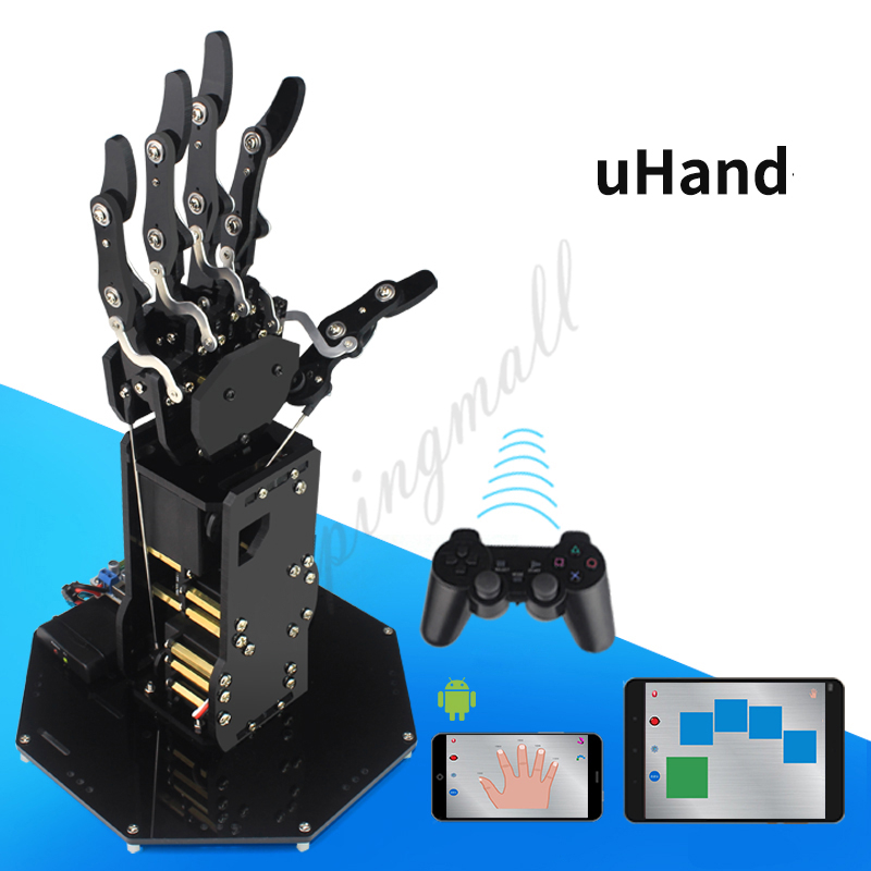 uHand Bionic Robot Hand Mechanical Arm Five Fingers with Control System for Robotics Teaching Training plastic silicone wrist fingers arm training force ball w led blue green black