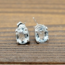 2.8ct 6x8mm Oval Cut Natural Aquamarine 925 Sterling Silver Women Stud Earrings Engagement Wedding Party Fine Jewlery Gemstone