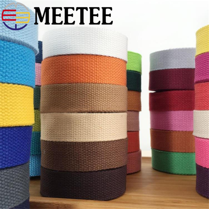10Yard Meetee 2.5cm Width Thick 2mm Cotton Ribbon Canvas Webbing Tape For Bags Strap Belt Sewing Clothing DIY Craft Accessories