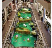 3d floor painting wallpaper Natural landscape bird fish 3D floor 3d pvc wallpaper floor 3d wallpaper