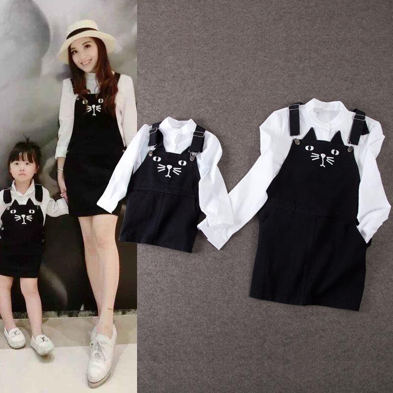 Mother Daughter Dresses 2017 Autumn Winter 2pcs Cat Children Girls Clothing Sets Mom and Daughter Denim Dress Shirt + Overalls