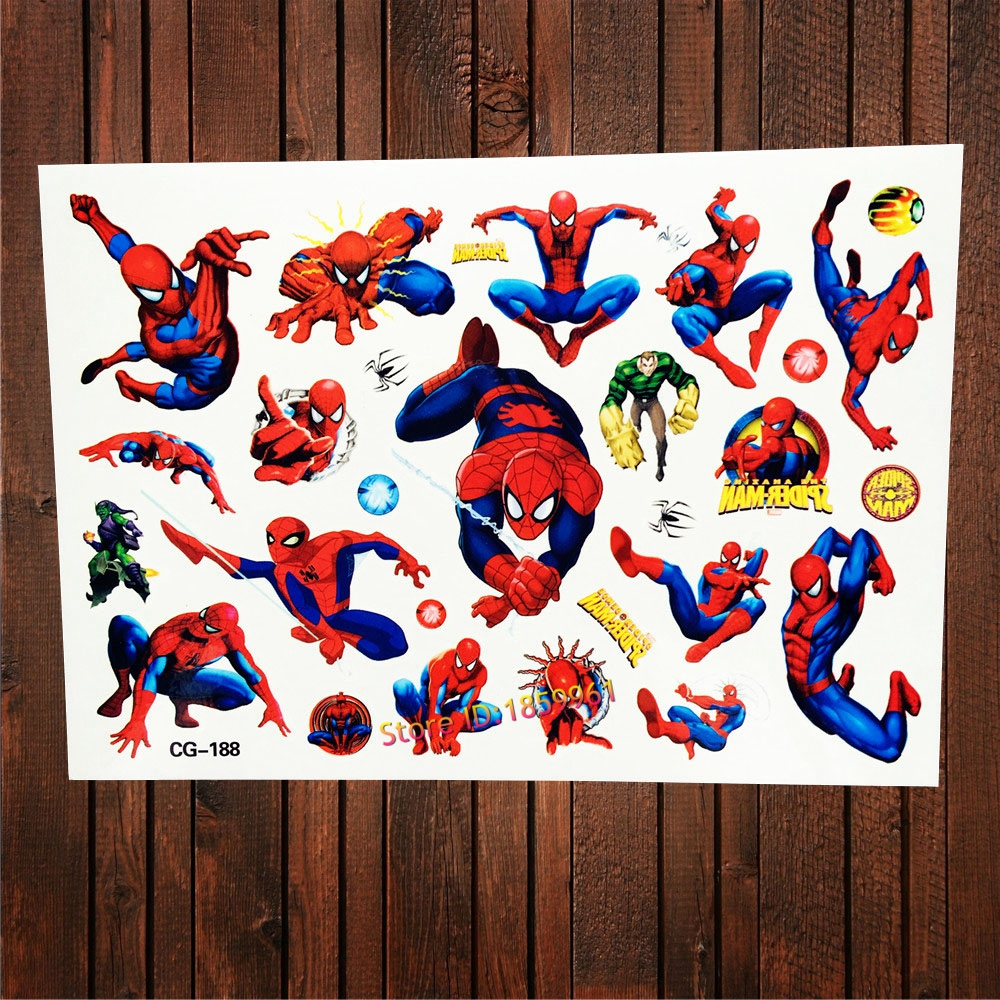 Fanrui design superhero cartoon spiderman waterproof for Superhero temporary tattoos
