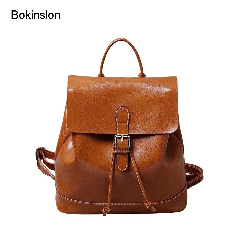 Bokinslon Women Backpacks Split Leather Simple Ladies Backpacks School Bags College Wind Casual Girls Backpacks Bags рюкзаки zipit рюкзак shell backpacks