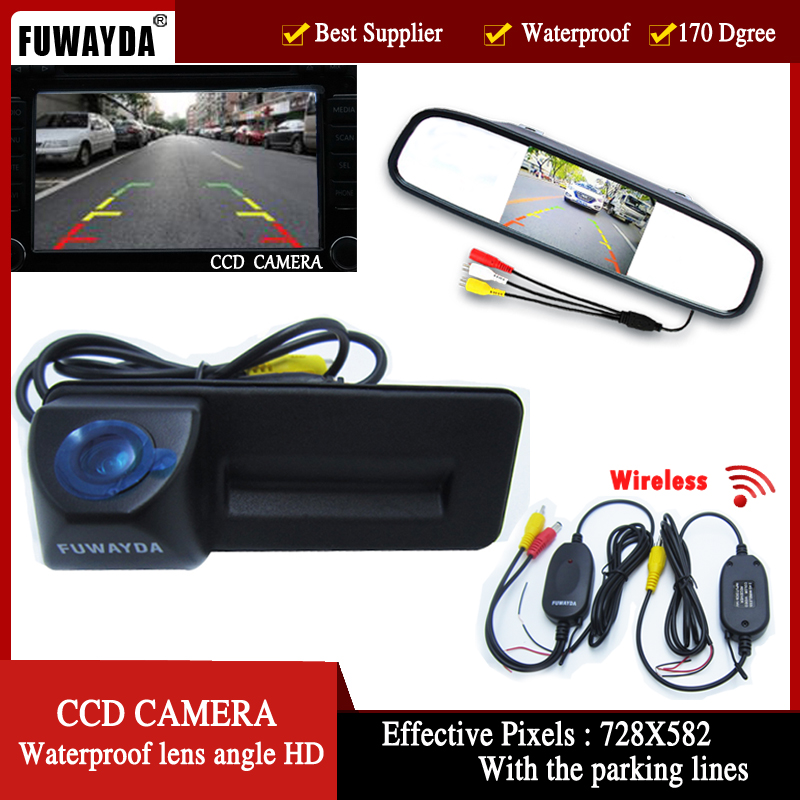 wireless Car Mirror Monitor + HD CCD car rear view Trunk handle Camera for Skoda Roomster Fabia Octavia Yeti superb for Audi A1 bigbigroad car trunk handle rear view backup reverse camera for skoda roomster fabia octavia 5e mk2 yeti superb audi a1