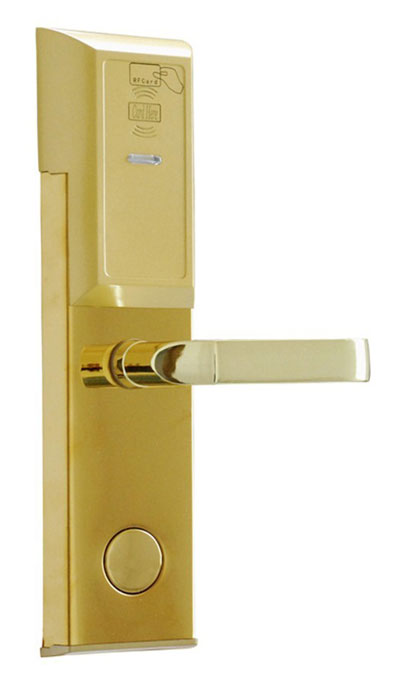 RFID T5577 hotel lock,stainless steel Material,gold,silver color, a test T5577 card ,sn:CA-8006 rfid t5577 hotel lock hotel lock system sample comes with a test t5577 card