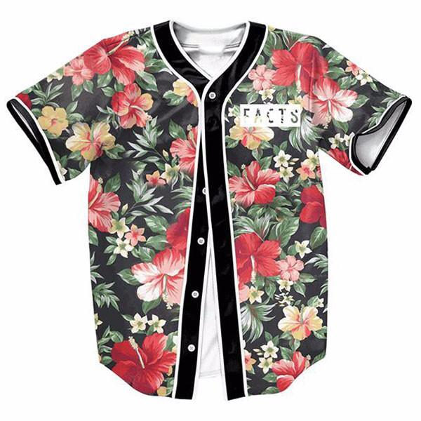 2018 3D Print Baseball Jersey TShirt Flower Short Sleeve Mens TShirt Button Shirt Slim Fit Hip Hop Streetwear цена 2017