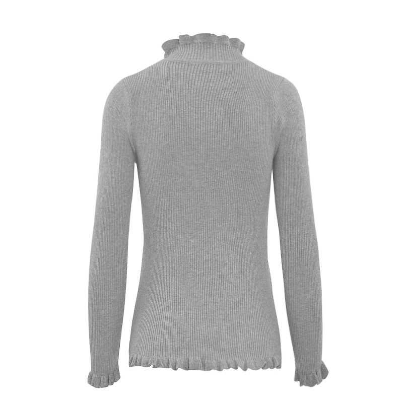 HEE GRAND/красочные пуловеры с длинным рукавом 2019, осенняя мода, тонкий эластичный женский свитер с оборками, Однотонный женский свитер WZL665