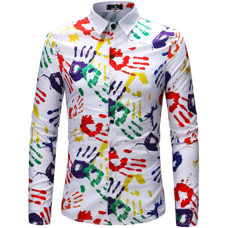 2018 Retro Floral Printed Man Casual Shirts Fashion Classic Men Dress Shirt Breathable Men's Long Sleeve Brand Clothing