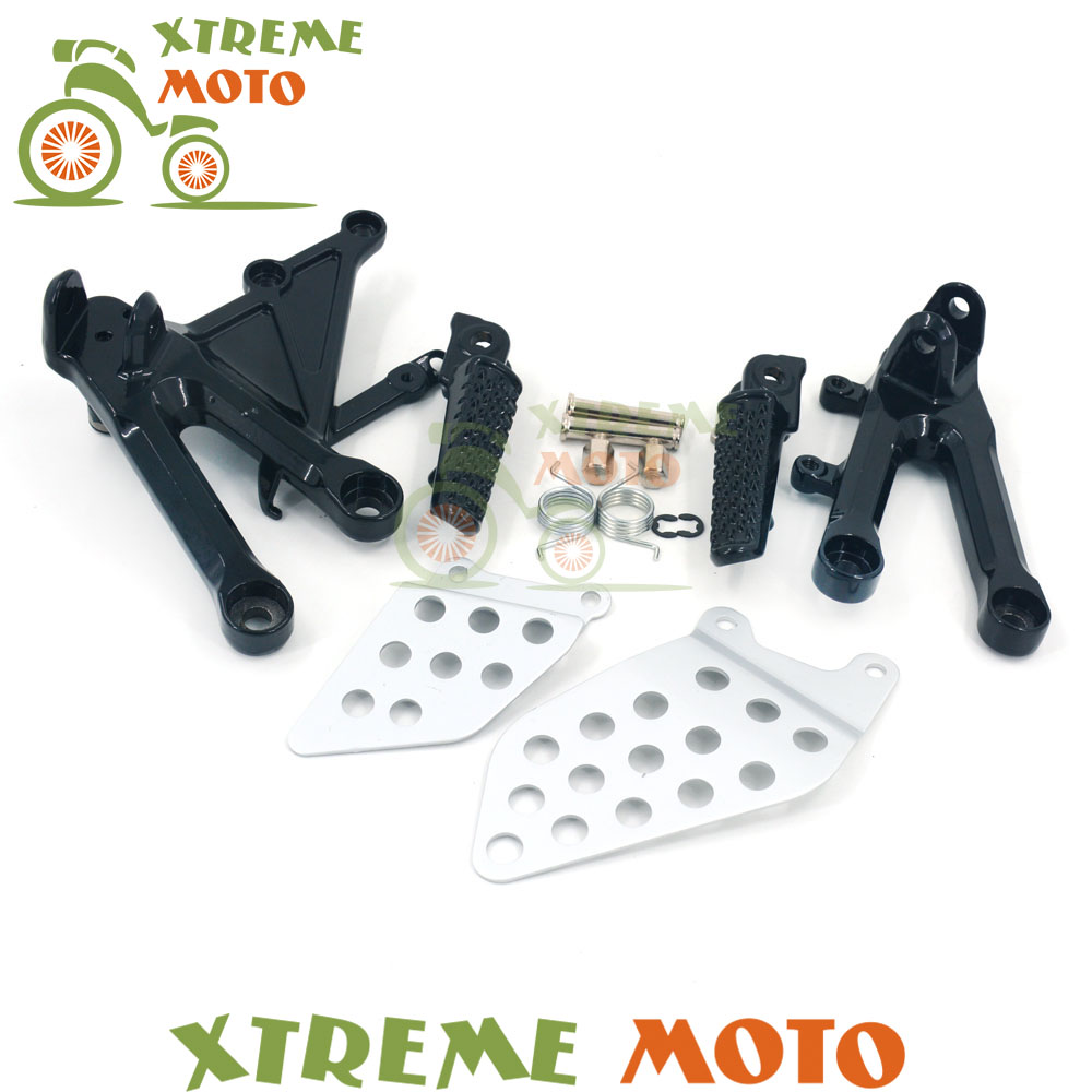 Motorcycle Black Front Rider Footrest Foot Peg Rests Pedals And Bracket Mount For Honda CBR1000RR 2004 2005 2006 2007
