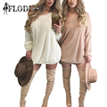 White/Pink Slash Neck Drop Shoulder Knitted Sweaters for Women Winter Sexy Pullovers Long Sleeve Oversized Loose Sweater Dress