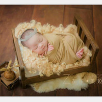 2018 Old Wood Bed Newborn Photography Props Posing Baby Photoshoot Baskets Accessories Photo Shoot Flokati Photography props Bed