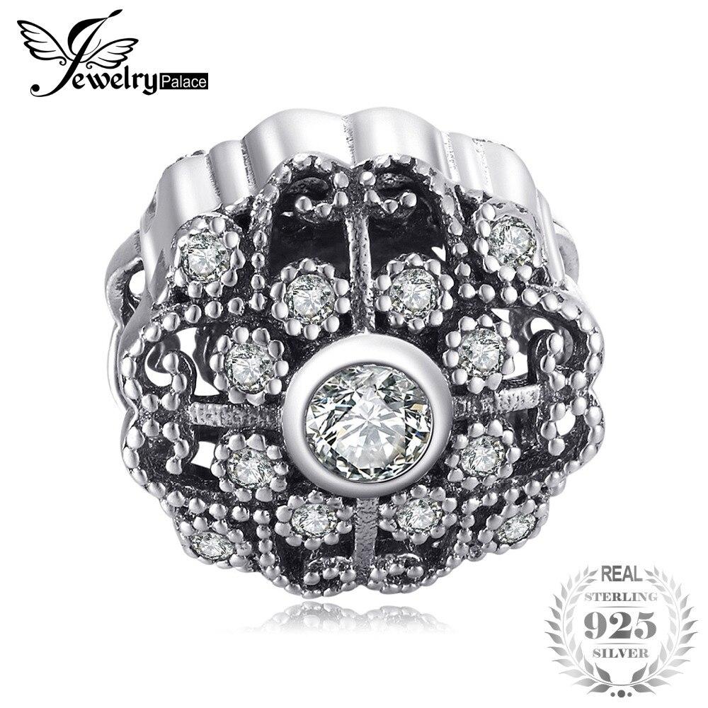 Jewelrypalace 925 Sterling Argent Vintage de Bon Augure Cubique Zircone Perles Charms Fit Bracelets Cadeaux Pour Les Femmes Mode Bijoux