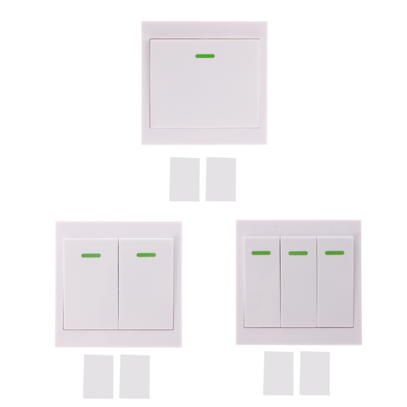 OOTDTY White Plastic 86 Wall Panel Wireless Remote Transmitter 1/2/3 CH Sticky RF TX Smart Home Room 315 Mhz