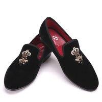 2018 пчелы Индийский Шелк, вышивка Бархатные мужские туфли Модные мужские лоферы для свадьбы и праздника мужской Обувь большого размера Туфл