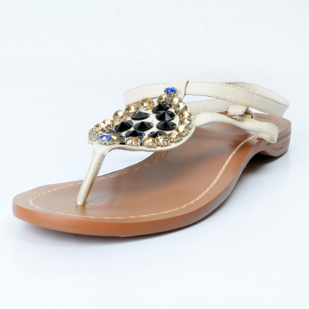 ФОТО New Gorgeous Women Sandals Open Toe Flat with Sandals High-quality Beige Shoes Woman Plus US Size 4-15