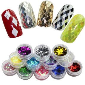 12 Colours 3D Glitter Nail Art Decorations