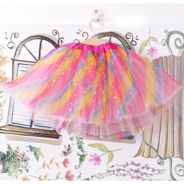 Baby Girl Clothes Kid Skirts Toddler Pettiskirt Rainbow Color Sequin Tutu Skirt Princess Dancewear