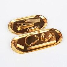 Золотая овальная тарелка для хранения ювелирных изделий маленький лоток для закусок из нержавеющей стали лоток металлический лоток для хранения FC0137