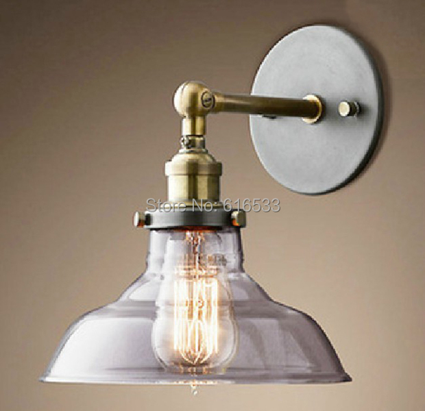 Loft Vintage Ameican Country  Industrial Lustre Glass Copper Edison Wall Sconce Lamp Bathroom Bedroom Mirror Home Decor Lighting