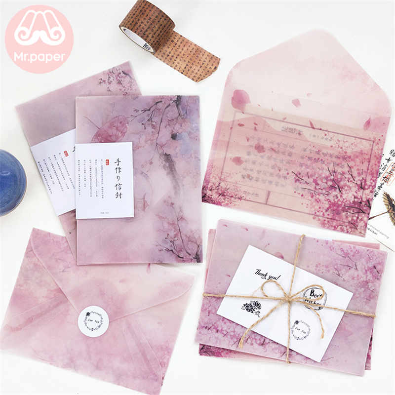 Mr Paper 3pcs/lot 4 Designs Sulfate Paper Envelopes With Seal Stickers Sakura Cherry Blossom Creative Pink Kawaii Gift Envelopes