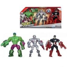 3pcs/sets Avengers Captain America Hulk Ultron Toy Action Figure Model Disney Brand Mix Piece Together for New Figure
