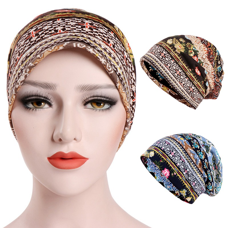 Scarf Hat Women Beanies Boho Style Female Hats Turban Muslim Collar Accessories Scarf  Head Caps