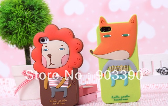 Hot selling! Romane 3D Cartoon Design Silicone Case for Apple Iphone 5 20pcs/lot free shipping by DHL