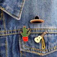 Chapéus guitarra méxico cactus pinos duro esmalte lapela pino emblemas jaqueta mochila jeans chapéus acessórios cactus jóias