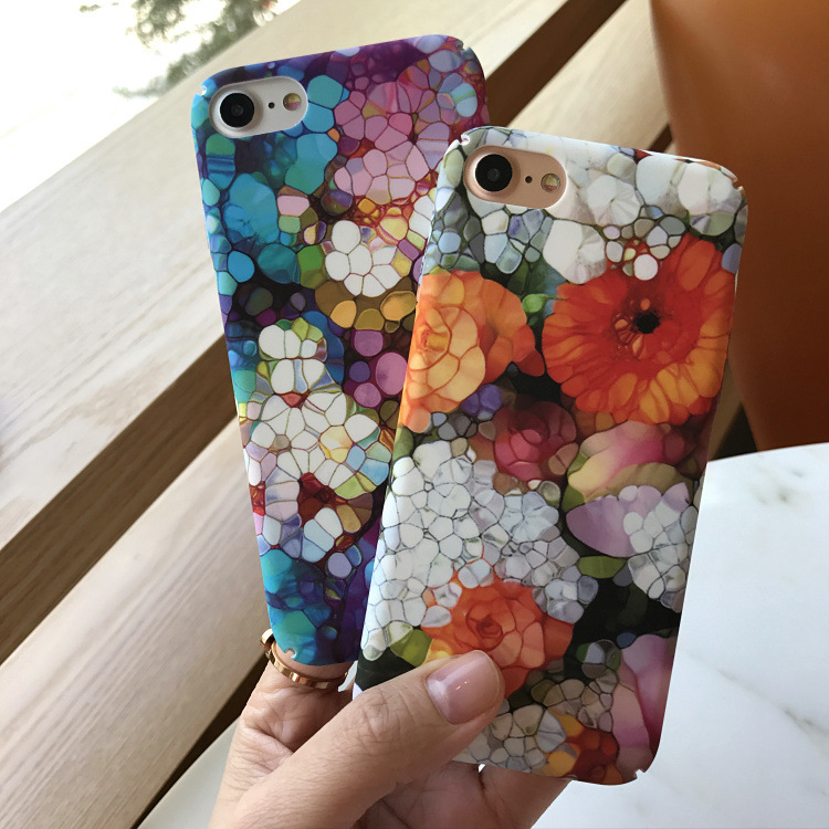 SZYHOME Phone Cases For iPhone 6 6s 7 Plus Case Art Flower Colorful Frosted Plastic For iPhone X Plus Mobile Phone Cover Case