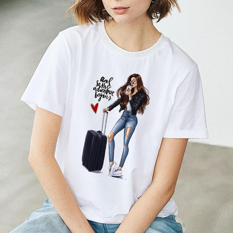 Summer T-Shirt Tee-Tops Harajuku Female Fashion Love-Girl Women Casual S-XXL