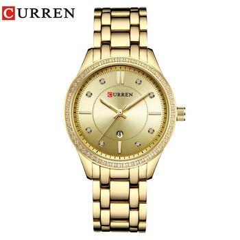 CURREN 9010 Watch Women Casual Fashion Quartz Wristwatches Ladies Gift Crystal Design relogio feminino gold blue дамски часовници розово злато