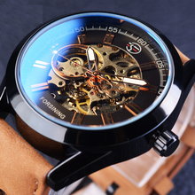 Luxury Gear Steampunk Open Work Brown Genuine Belt Mens Watch Top Brand Luxury Automatic Skeleton Watches
