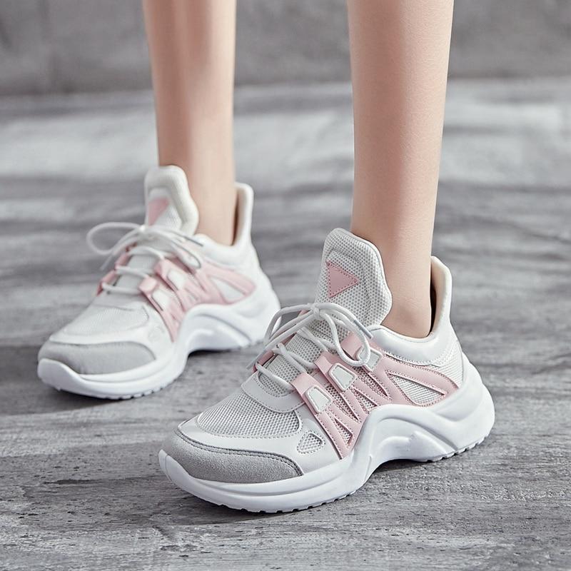 Women Sneakers Spring Autumn Mesh Women Casual Shoes Fashion Breathable Casual Flats Platform Women Shoes Big Size 35-43 цена
