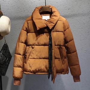 Image 4 - בתוספת גודל XXXL קצר כותנה מעיל נשים Harajuku סגנון חורף מעיל נשים Chaqueta Mujer לחם מעיל כותנה מעיל Parka C4900
