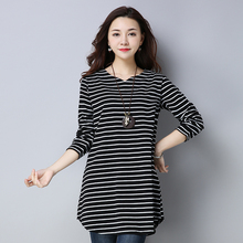 #2528 Spring Autumn Black And White Striped T Shirt Women V Neck Plus Size 4XL Long Sleeve T-shirt Ladies Casual