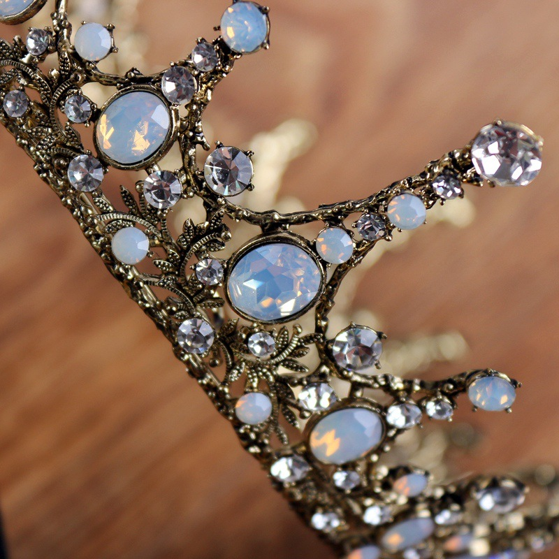 Vintage Wedding Hair Accessories Large Baroque King Queen Prom Men Crowns Full Round Circle Wedding Bridal Crystal Tiara Crown