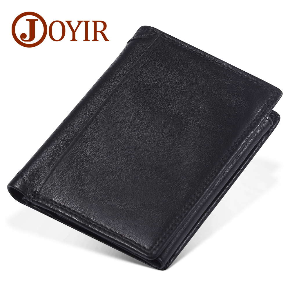 JOYIR 2019 New Crazy Horse Leather Men Wallets Fashion Coin Purse Money Credit Card Holder Vintage Genuine Leather RFID Wallet
