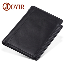 JOYIR 2019 New Crazy Horse Leather Men Wallets Fashion Coin Purse Money Credit Card Holder Vintage Genuine RFID Wallet