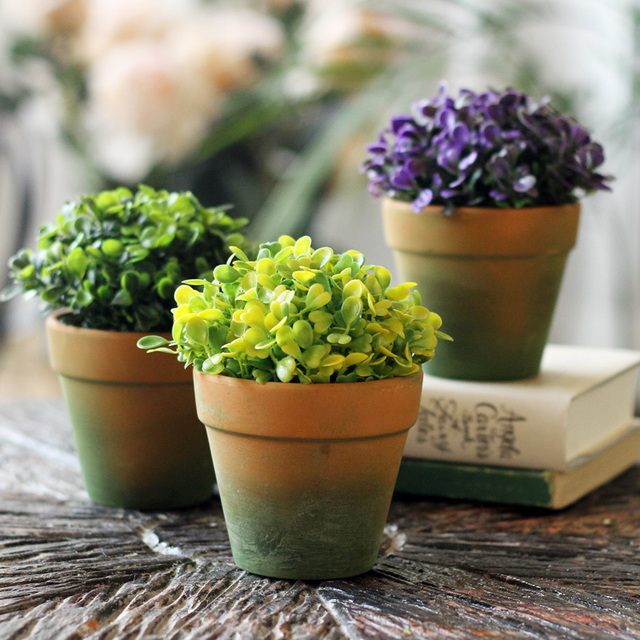 High Artificial Flower Set Green Plant Bonsai Office Desk Small Decoration 3
