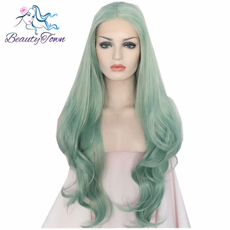 Beautytown wave type green color heat resistant hair hand tied perruque synthetic lace front party wig